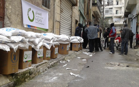 Distributing Food Baskets in Aleppo, Syria